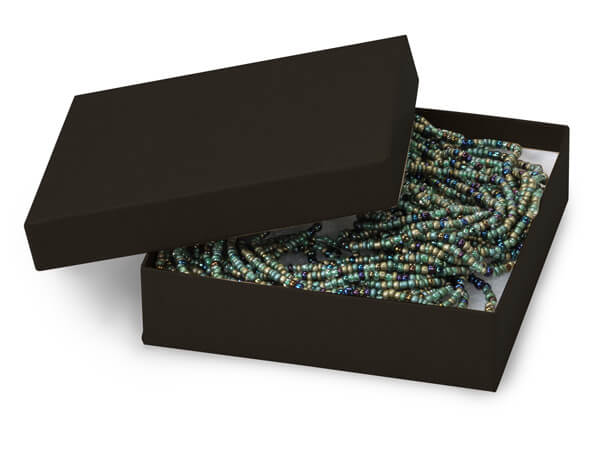 """Black Matte Jewelry Gift Boxes, 4x4x1"""", 100 Pack, Cotton Fill"""