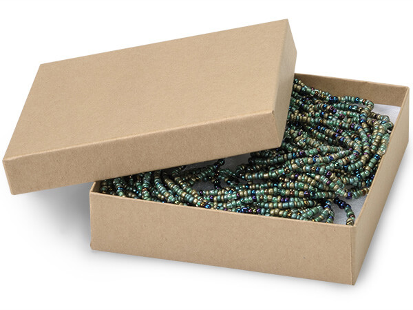 "Brown Kraft Jewelry Gift Boxes, 4x4x1"", 100 Pack, Cotton Fill"