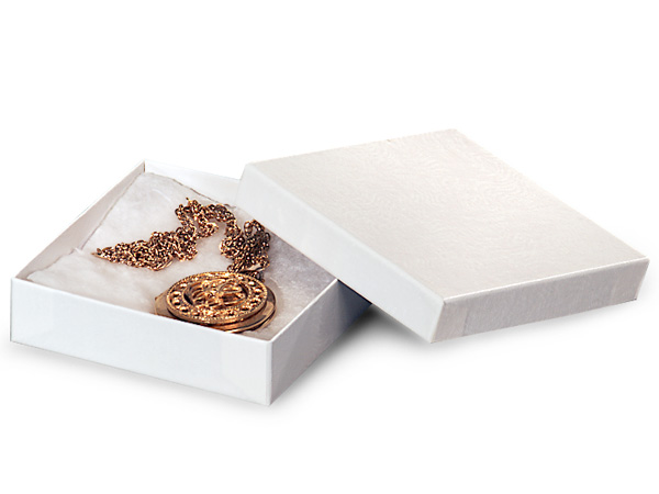 White Embossed Swirl Jewelry Boxes 4x4x1 100 Pack Cotton Fill