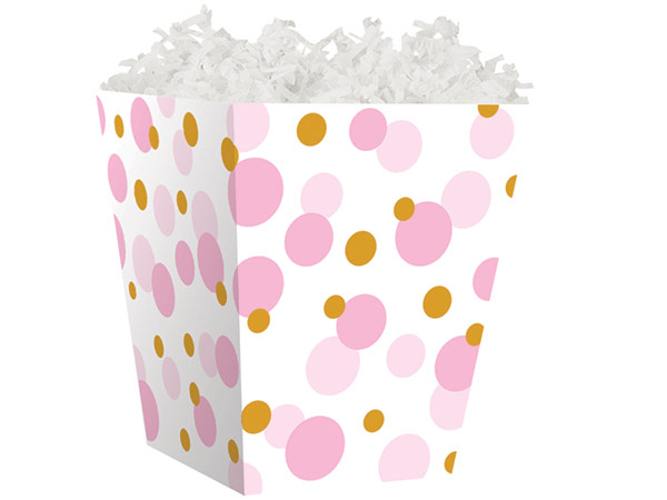 *Pink Baby Dots Sweet Treat Boxes 4 x 4 x 4-1/2""