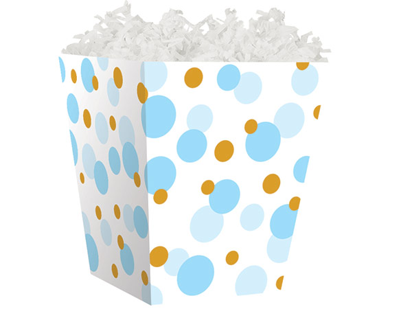 *Blue Baby Dots Sweet Treat Boxes 4 x 4 x 4-1/2""