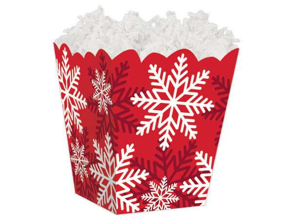 Red & White Snowflakes Sweet Treat Boxes 4 x 4 x 4-1/2""