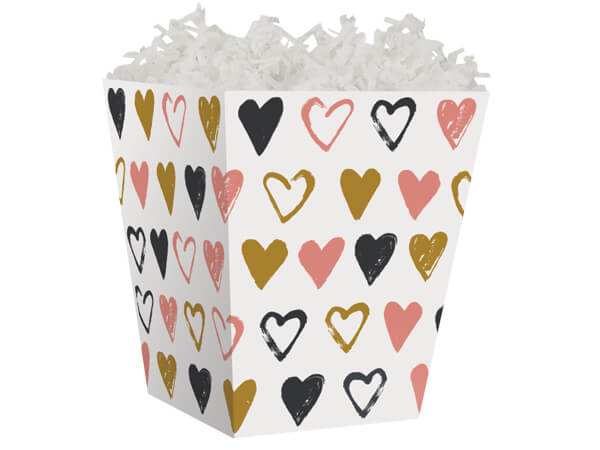Metallic Hearts Sweet Treat Gift Box 4 x 4 x 4-1/2""
