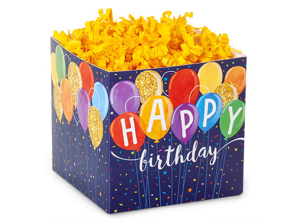 "Happy Birthday Balloons Square Favor Box, 3.75x3.75x3.75"", 6 Pack"