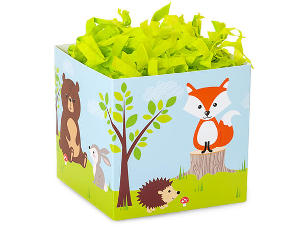"""*Woodland Animals Square Party Favo Gift Boxes, 3.75x3.75x3.75"""", 6 Pac"""