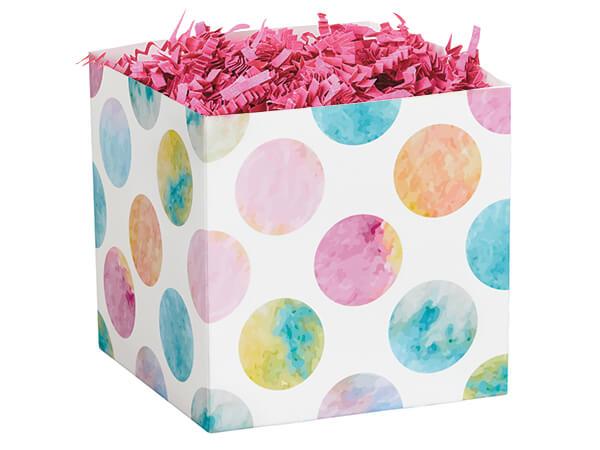 "Watercolor Dots Square Party Favor Boxes, 3.75x3.75x3.75"", 6 Pack"