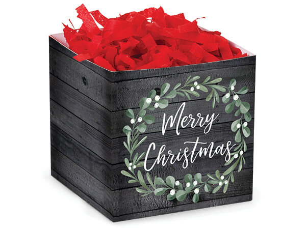 """Merry Christmas Wreath Square Favor Boxes, 3.75x3.75x3.75"""", Pack 6"""