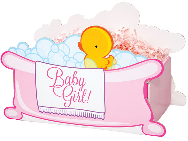 """*Large Baby Girl Bubbles Basket Boxes 12-1/8x6x7-5/8"""""""