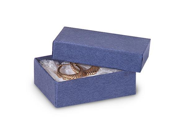"""2-7/16x1-5/8x13/16"""" Blue Kraft Jewelry Box with Cotton"""