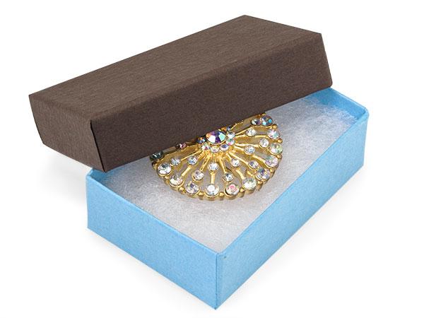 "Chocolate Aqua Duo Jewelry Boxes, 2.5x1.5x.75"", 100 Pack, Fiber Fill"