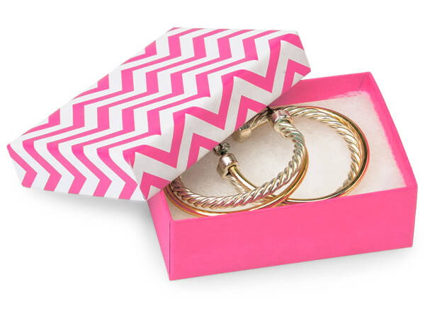 "Calypso Pink Chevron Jewelry Boxes, 2.5x1.5x.75"", 100 Pack, Cotton Fil"