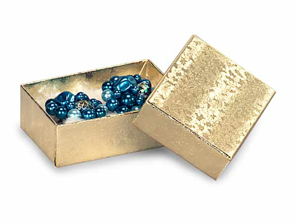"Gold Embossed Foil Jewelry Boxes, 2.5x1.5x.75"", 100 Pack, Cotton Fill"