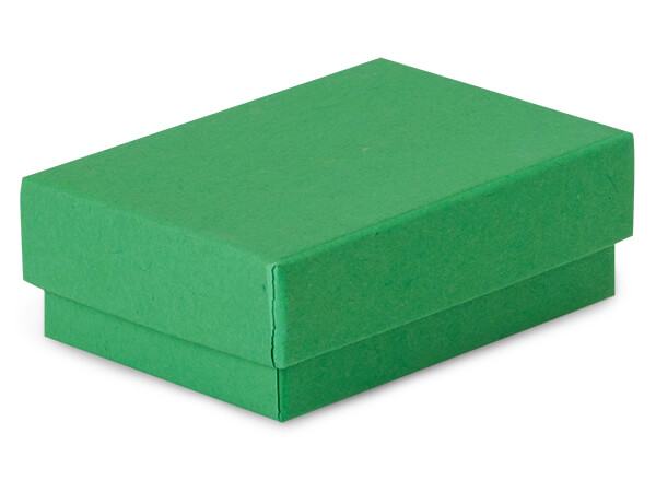 "Green Kraft Jewelry Gift Boxes, 2.5x1.5x.75"", 100 Pack, Cotton Fill"