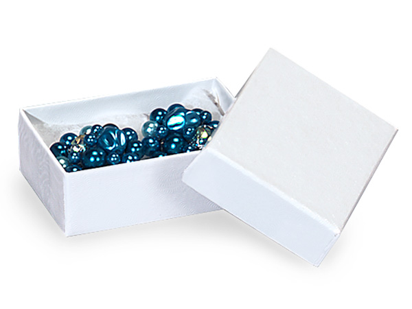 "White Gloss Jewelry Gift Boxes, 2.5x1.5x.75"", 100 Pack, Cotton Fill"