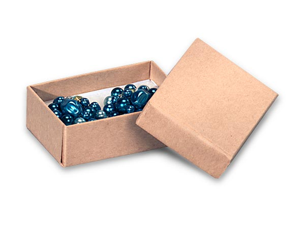 "Brown Kraft Jewelry Gift Boxes, 2.5x1.5x.75"", 100 Pack, Cotton Fill"