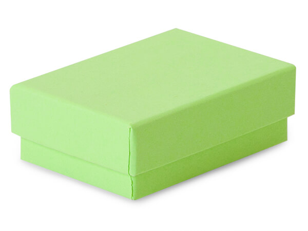 "Light Green Jewelry Gift Boxes, 2.5x1.5x.75"", 100 Pack, Cotton Fill"