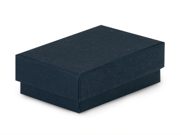 """Navy Blue Jewelry Gift Boxes, 2.5x1.5x.75"""", 100 Pack, Cotton Fill"""