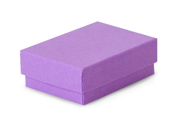 "2-7/16x1-5/8x13/16"" Purple Jewelry Boxes with Cotton"