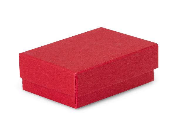 "Red Matte Kraft Jewelry Gift Boxes, 2.5x1.5x.75"", 100 Pack, Cotton Fil"