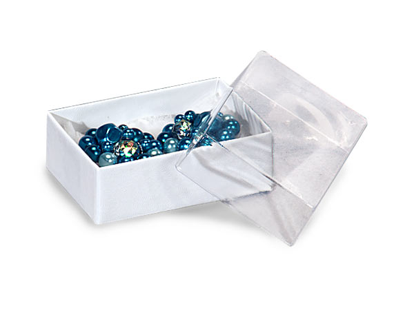 "Clear Lid White Base Jewelry Boxes, 2.5x1.5x.75"", 100 Pack, Cotton Fil"