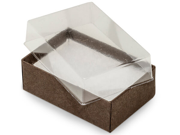 "Clear Lid Chocolate Base Gift Box, 2.5x1.5x.75"", 100 Pack, Cotton Fill"