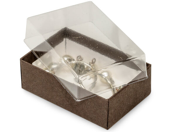 "2-7/16x1-5/8x13/16"" Clear Lid Boxes With Chocolate Bases"