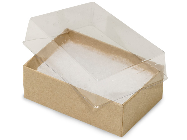2-7/16x1-5/8x13/16 Clear Lid Kraft Base ~ Non-tarnish Cotton