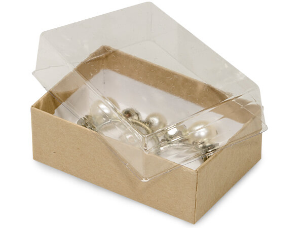 "2-7/16x1-5/8x13/16"" Clear Lid Boxes With Kraft Bases"