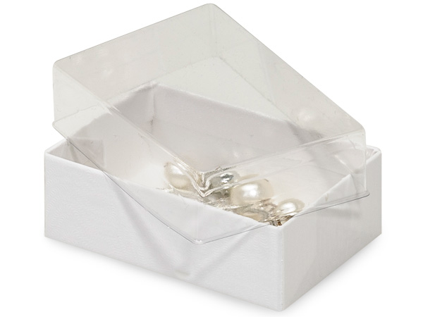 "2-7/16x1-5/8x13/16"" Clear Lid Boxes With White Swirl Base"