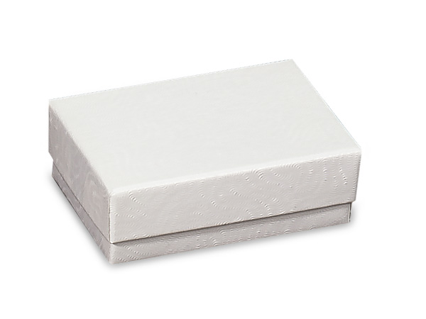 "White Embossed Swirl Jewelry Boxes, 2.5x1.5x.75"", 100 Pack, Cotton Fil"