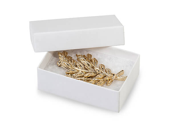"""White Kraft Recycled Jewelry Boxes, 2.5x1.5x.75"""", 8 Pack, Cotton Fill"""