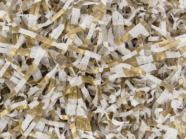 Gold Metallic Stripe Tissue Paper Shred, 18 oz. Bag