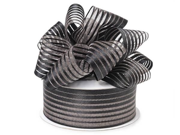 """Black Metallic Stripes on White Sheer Ribbon, 1-1/2""""x25 yards"""