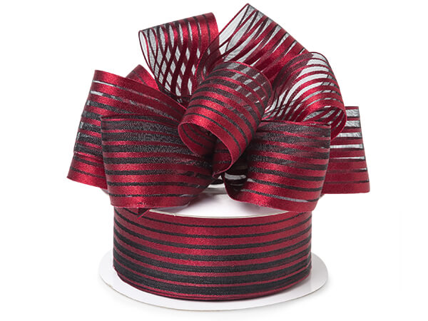 """Red Metallic Stripes on Black Sheer Ribbon, 1-1/2""""x25 yards"""