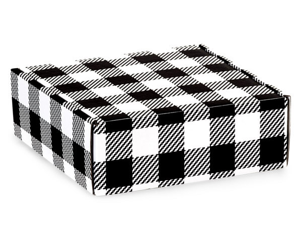 "Buffalo Plaid Black Gourmet Shipping Boxes, 6x6x2"", 6 Pack"