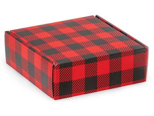 "Christmas Buffalo Plaid Gourmet Shipping Boxes, 6 x 6 x 2"", 6 Pack"