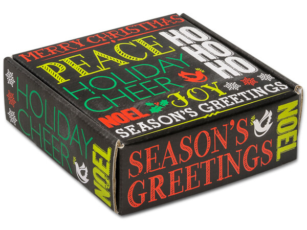 """*Holiday Greetings Chalkboard Boxes 6x6x2"""" Auto Lock Boxes"""
