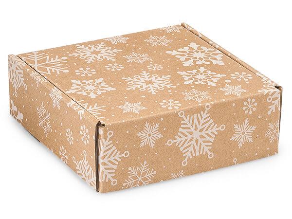"""Kraft Snowflakes Gourmet Shipping 6 x 6 x 2"""" Auto Lock Boxes"""