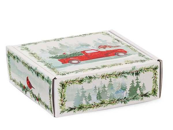 """Christmas Red Truck Gourmet Shipping Boxes, 6x6x2"""", 6 Pack"""