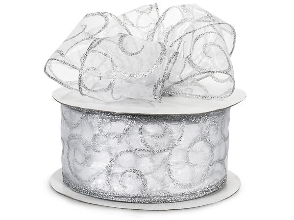 "Wired White Sheer w/ Silver Swirls Ribbon 2-1/2""x50 yds 100% Nylon"