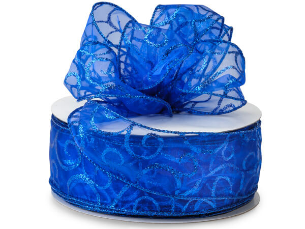 "Wired Royal Blue Sheer w/ Swirls Ribbon 2-1/2""x50 yds 100% Nylon"