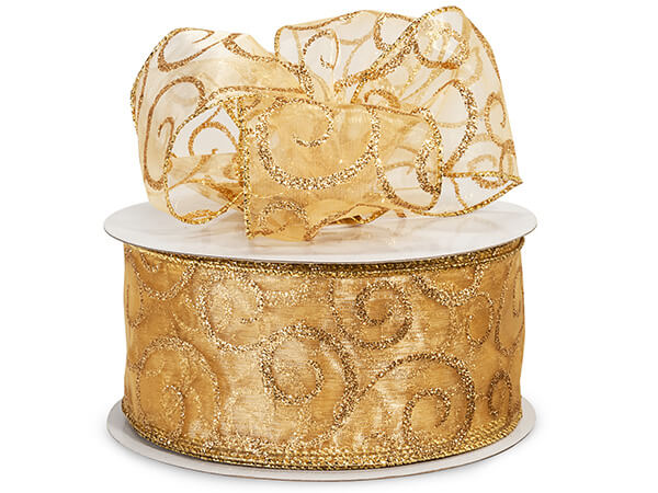 "Gold with Gold Glitter Swirls Sheer Wired Ribbon, 2-1/2""x50 yard"