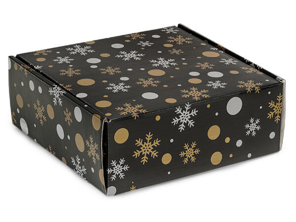 "Christmas Elegance Gourmet Shipping 8 x 8 x 3"" Auto Lock Boxes"