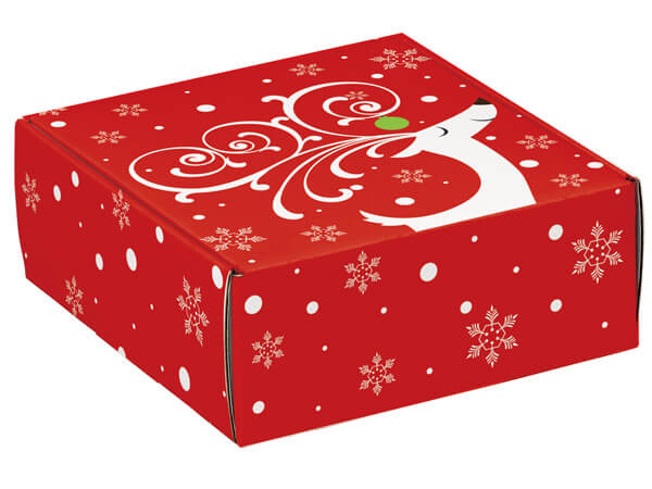 "Dashing Reindeer Gourmet Shipping Boxes 8x8x3"" Auto Lock Boxes"