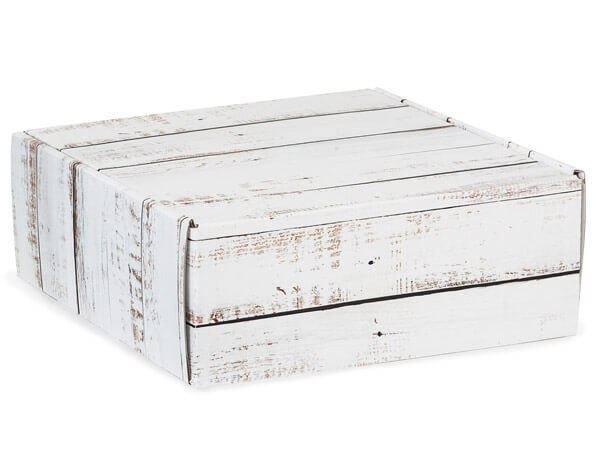 "Distressed Wood Gourmet Shipping Boxes, 8x8x3"", 6 Pack"