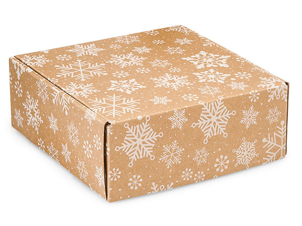 Kraft Snowflake Shipping Boxes