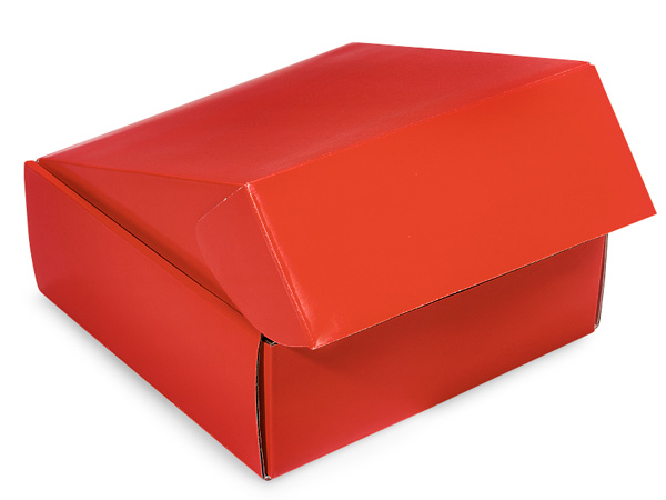"Red Gourmet Shipping Boxes 8x8x3"" Auto Lock Boxes"