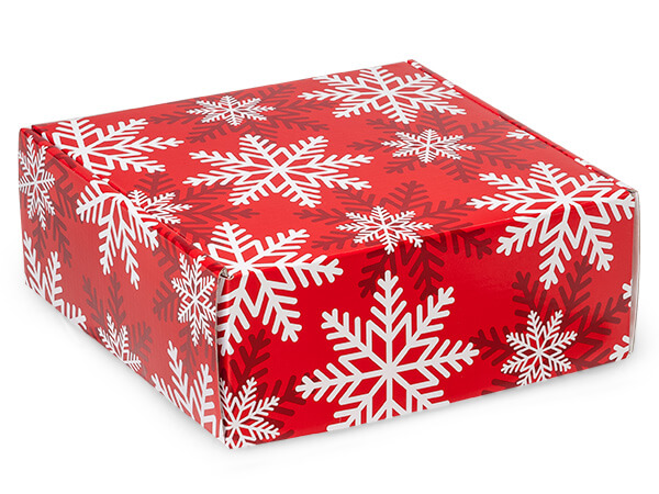 "Red & White Snowflakes Gourmet Shipping 8 x 8 x 3"" Auto Lock Boxes"