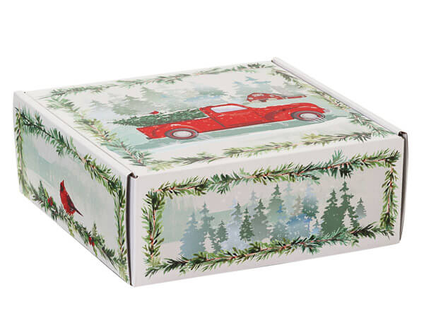 """Christmas Red Truck Gourmet Shipping Boxes, 8x8x3"""", 6 Pack"""