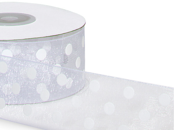 "White w/ White Printed Dots Ribbon 1-1/2""x25 yds 100% Nylon Sheer"